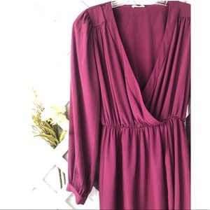 Tobi Long Sleeve Purple Wrap Dress Size Small